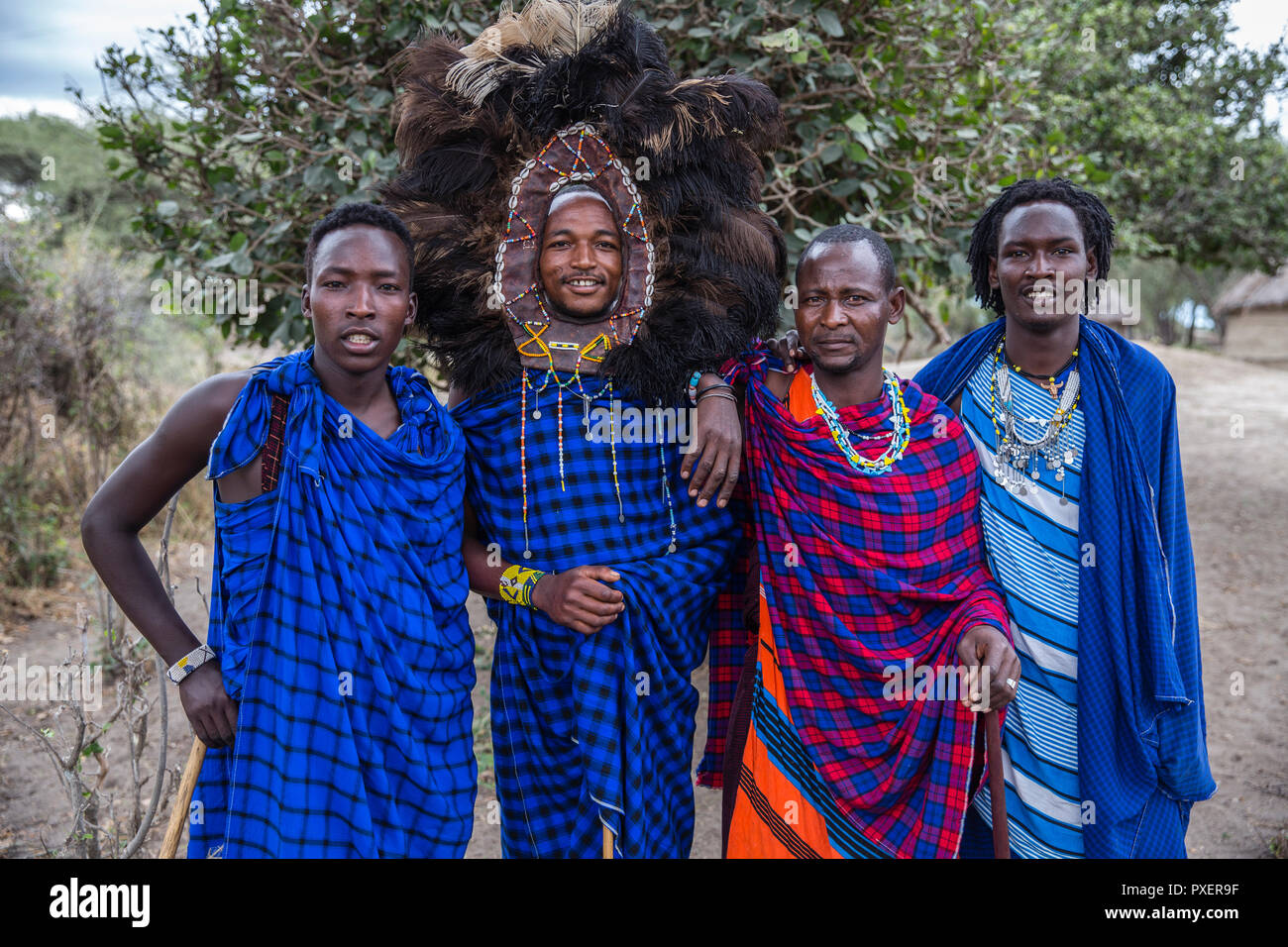 Maasai at Ngorongoro Crater in Tanzania - Stock Image