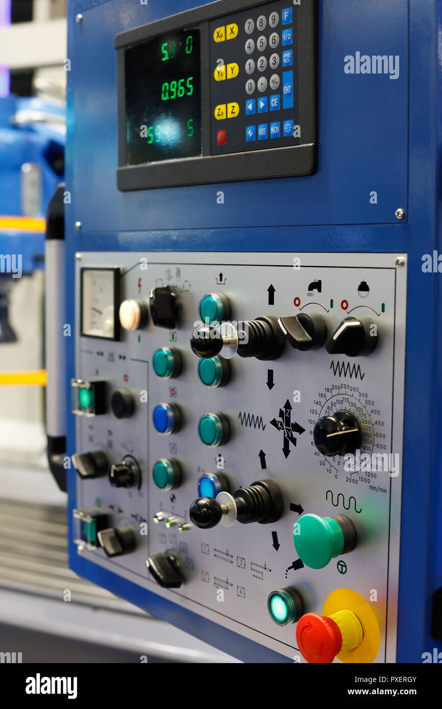 Control panel of CNC milling machine. Selective focus. - Stock Image