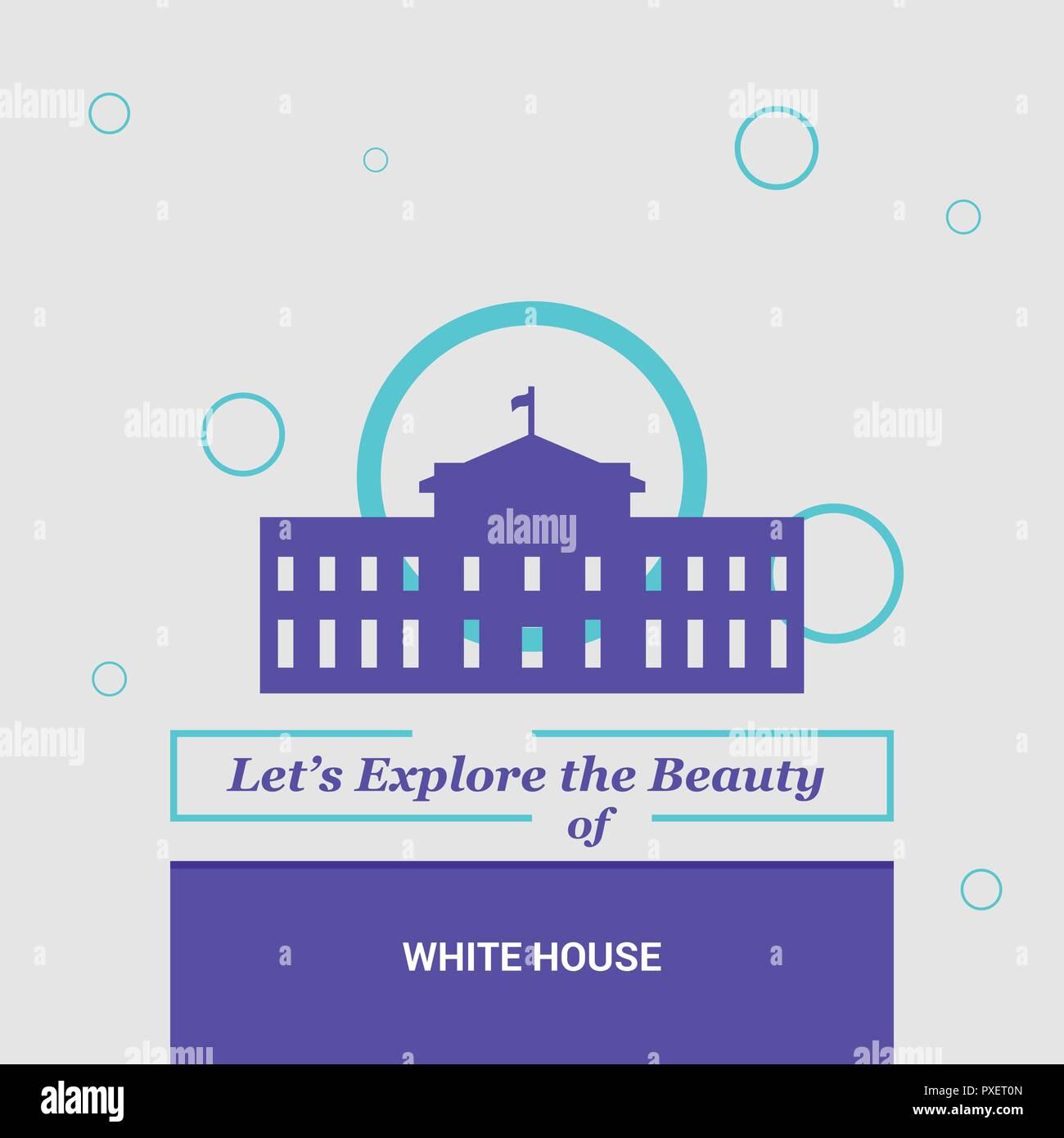 Let's Explore the beauty of White house Washington, D.C.  U.S.A National Landmarks - Stock Vector