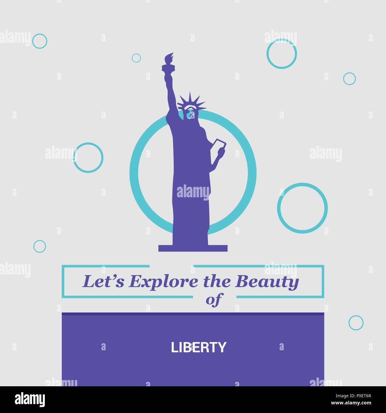 Let's Explore the beauty of Liberty NewYork , USA National Landmarks Stock Vector
