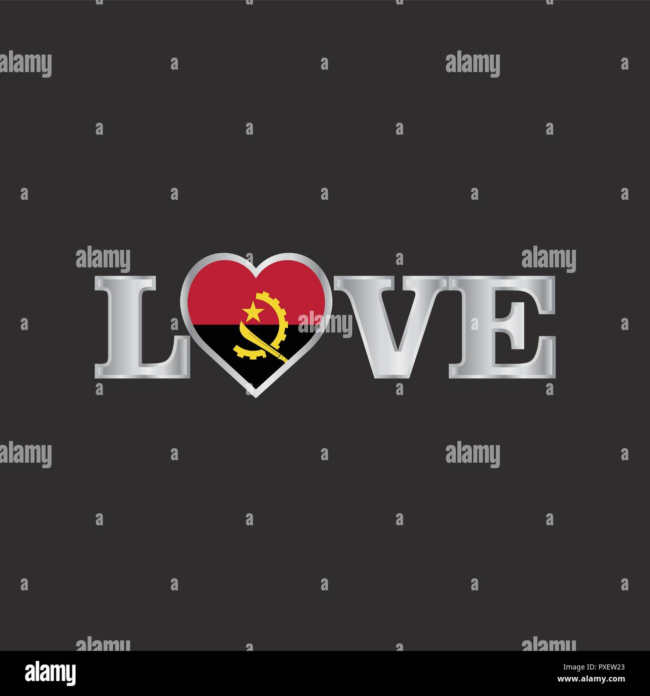 Love typography with Angola flag design vector - Stock Image