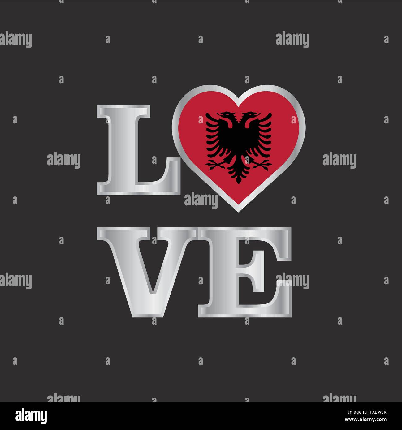 Love typography Albania flag design vector beautiful lettering - Stock Vector