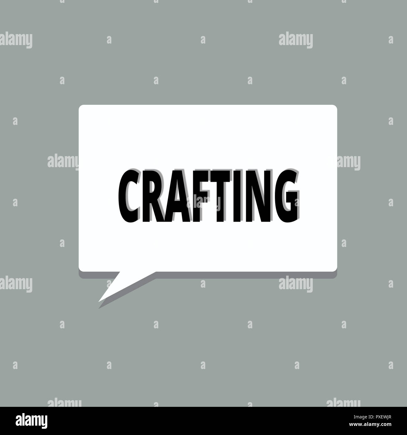 Handwriting text Crafting. Concept meaning activity or hobby of making decorative articles by hand using tools. - Stock Image