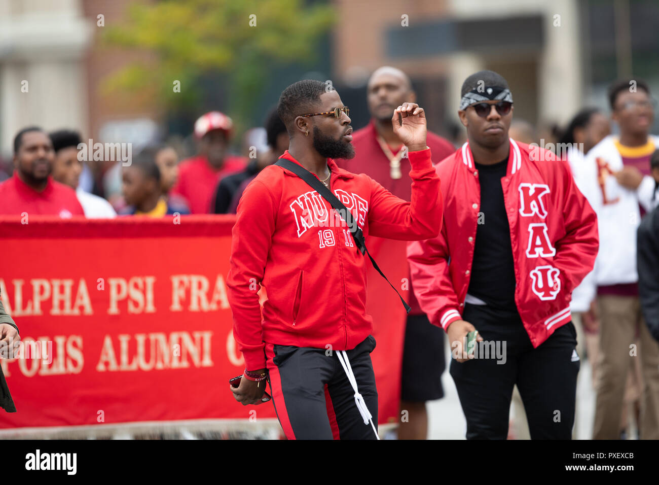 Indianapolis, Indiana, USA - September 22, 2018: The Circle City Classic Parade, Members of the Kappa Alpha Psi Fraternity dancing during the parade - Stock Image