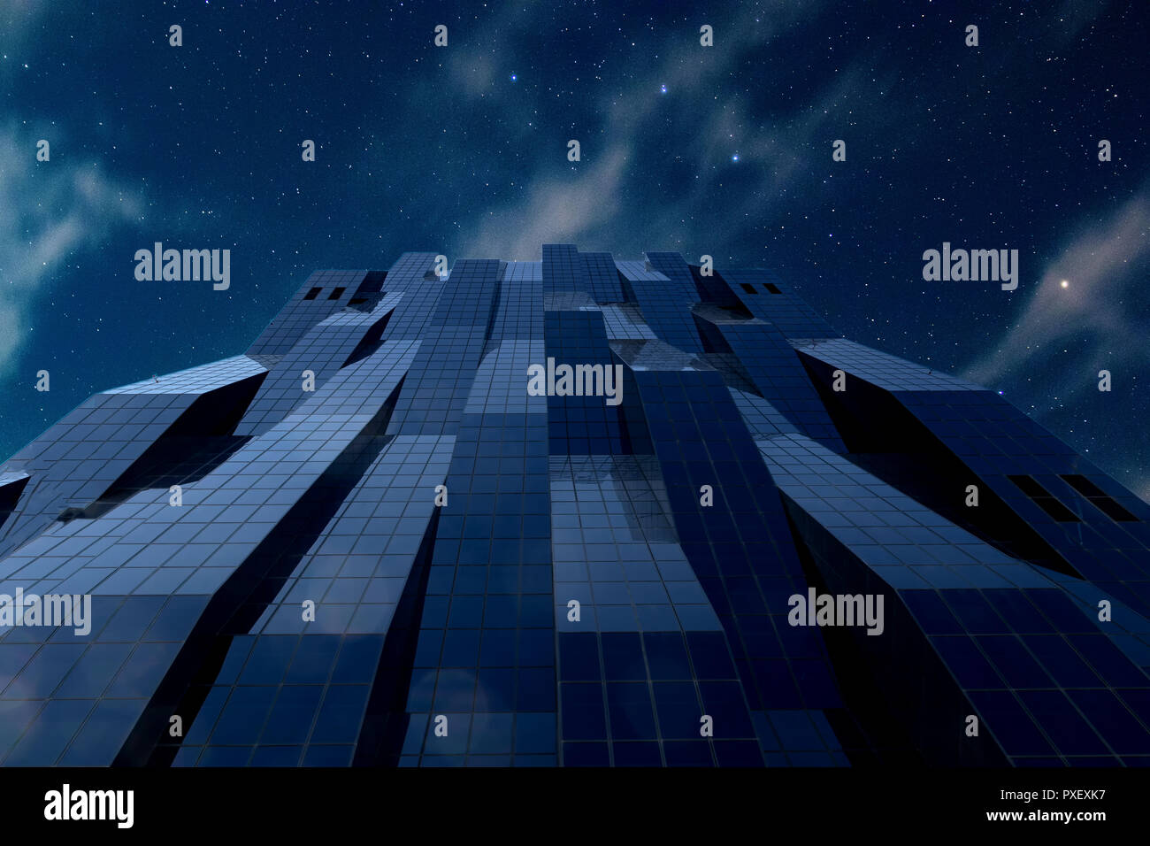 skyscraper DC Tower in Vienna with Stars and Night Sky - Stock Image
