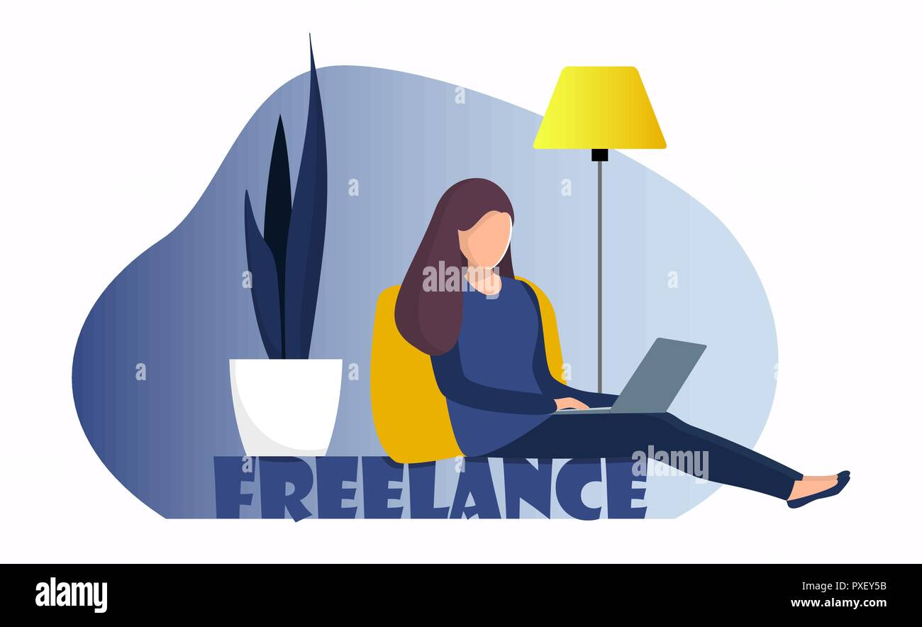 Woman Freelancer Sitting At Home With Laptop Girl With