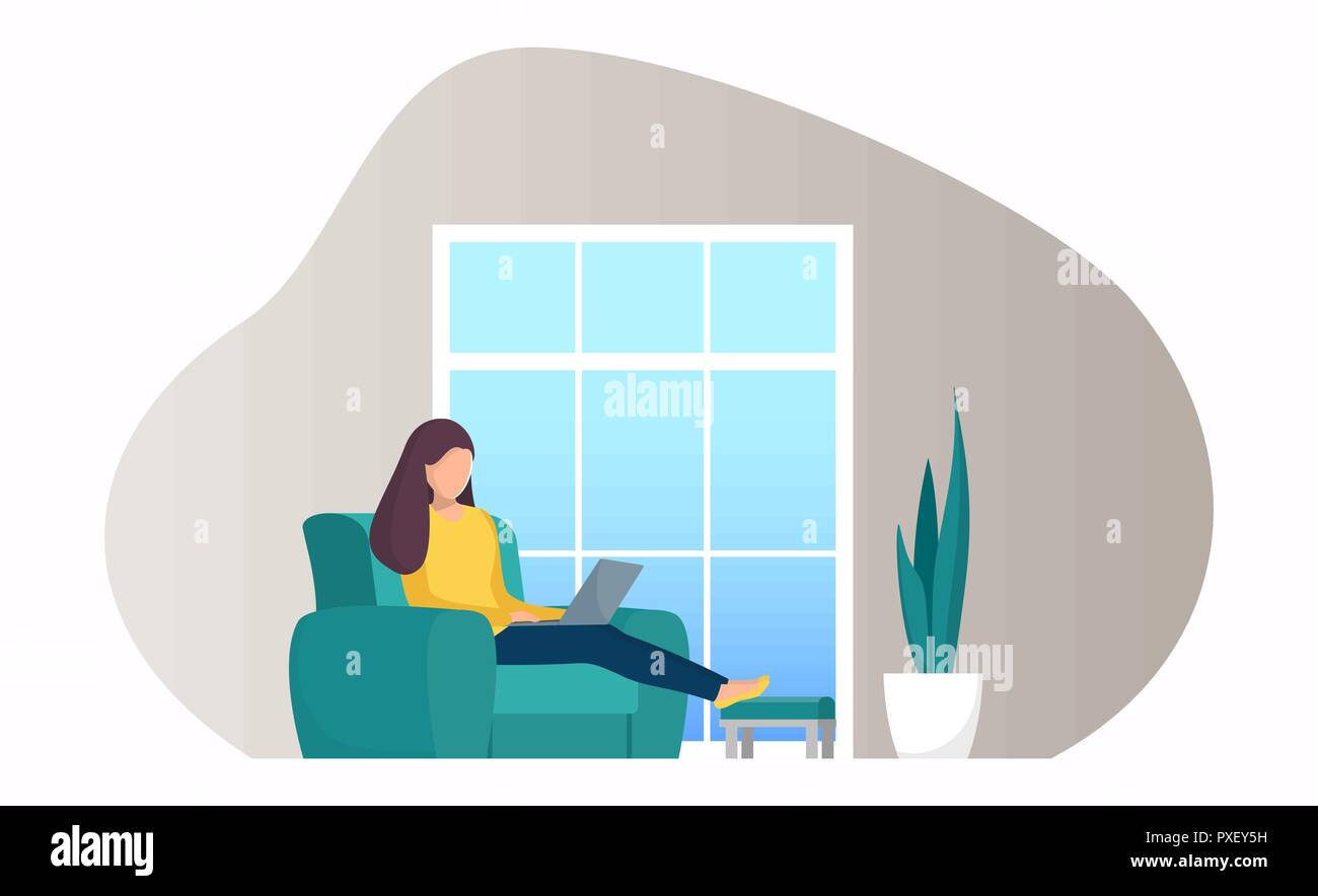 Woman Sitting In A Chair By The Window With Laptop Girl With Laptop