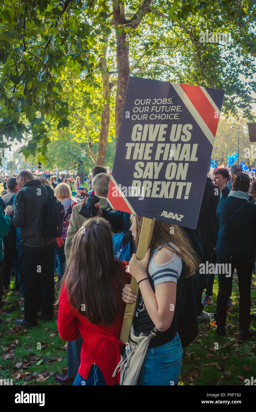 20 October 2018; 700k people attended the march in central London asking for a People''s Vote on Brexit. UK is expected to leave the EU in March 2019. - Stock Image