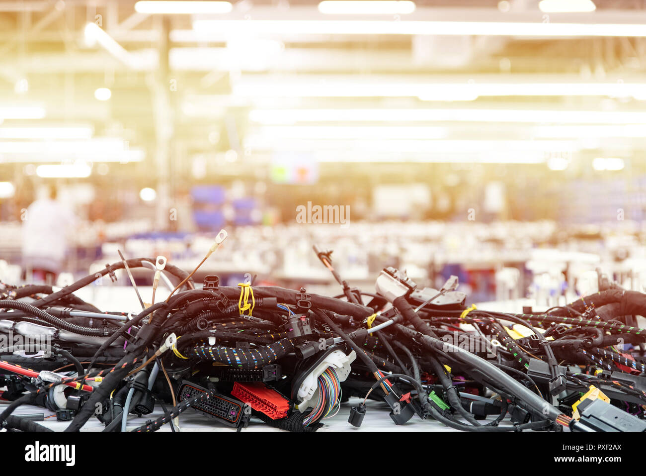 Manufacturing of wiring harnesses, automotive industry, technology Stock Photo