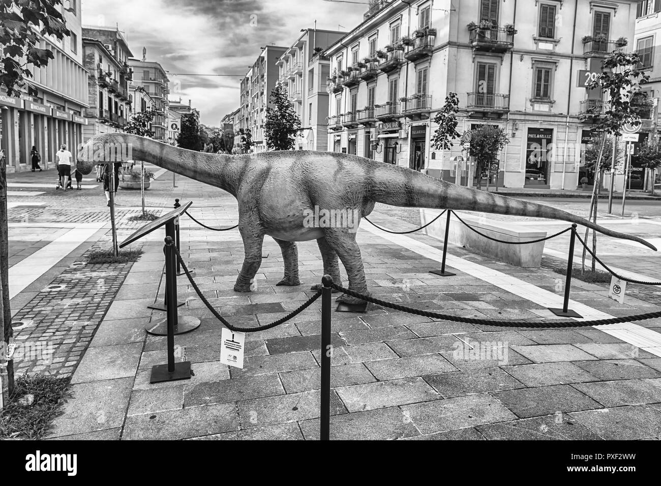 COSENZA, ITALY - AUGUST 25: Dinosaur featured  in the open air exhibition held in Cosenza, Italy, August 25, 2018. - Stock Image