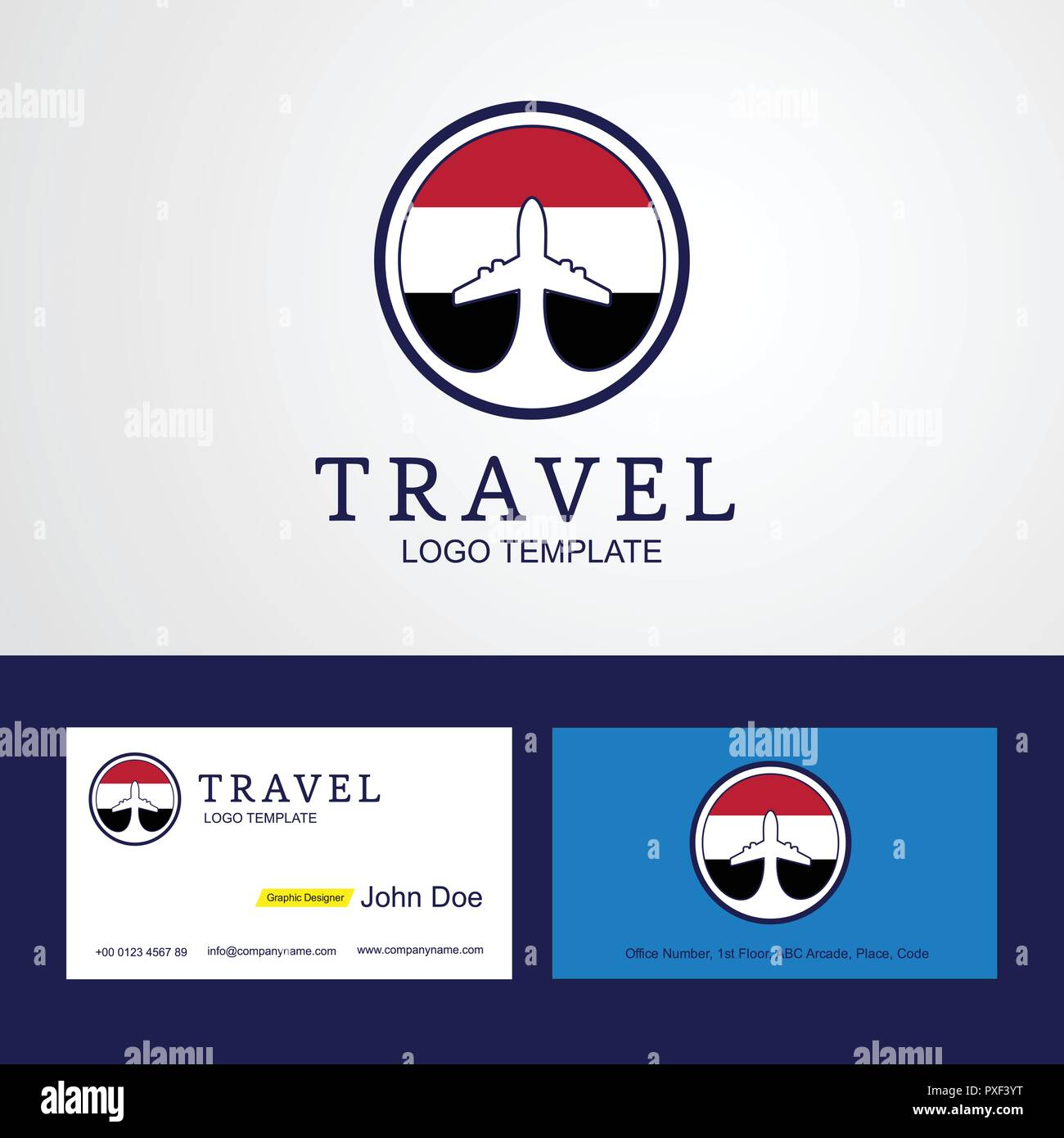 Travel Yemen Creative Circle flag Logo and Business card design - Stock Vector