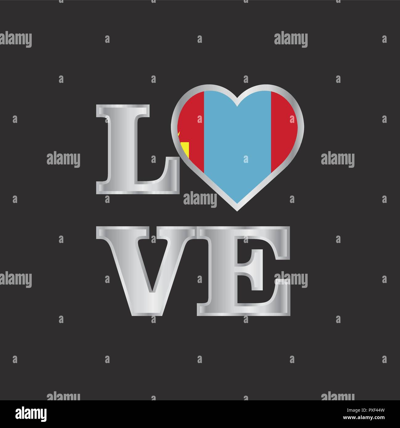 Love typography Mongolia flag design vector beautiful lettering - Stock Vector