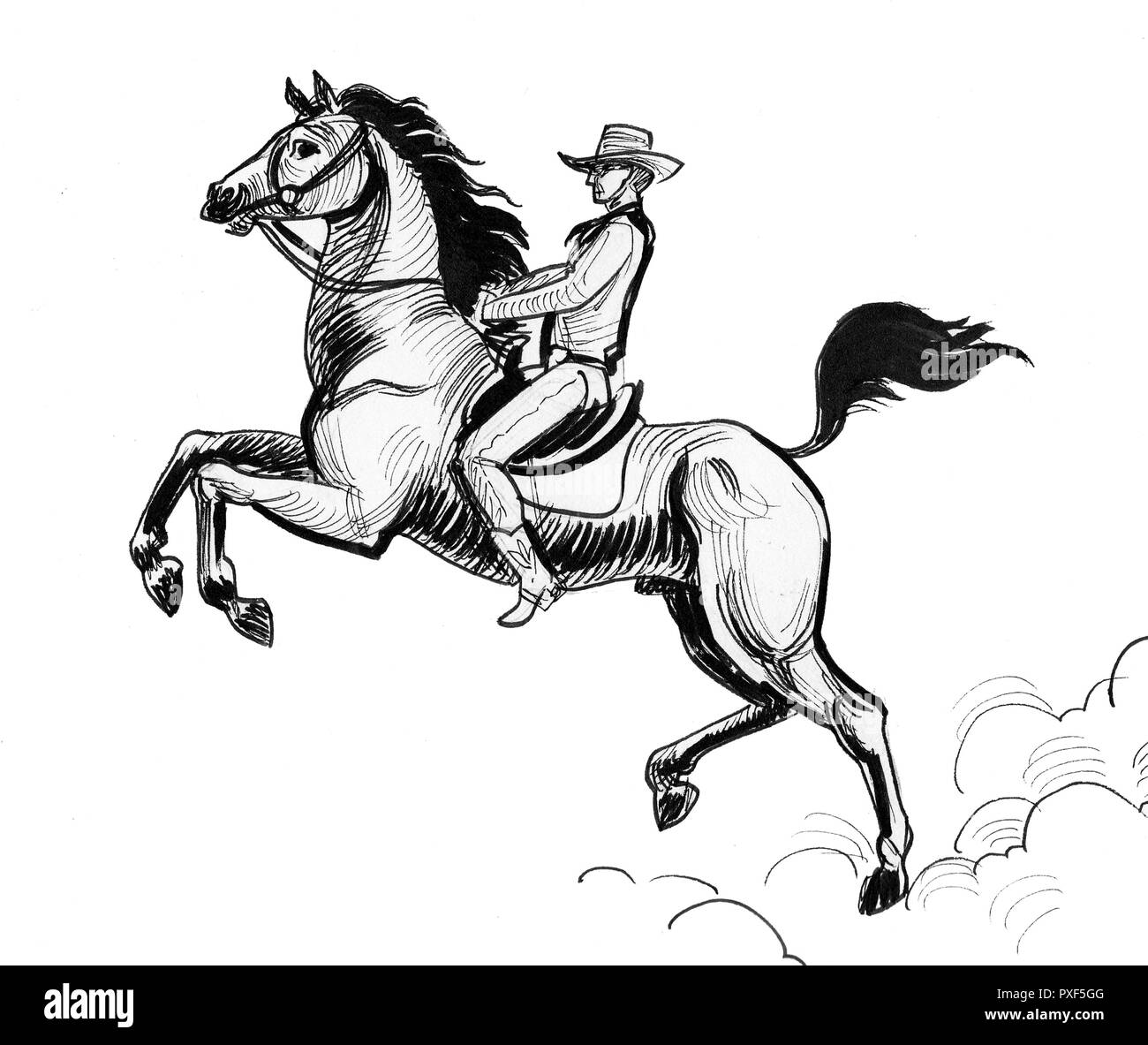 Cowboy Riding A Horse Ink Black And White Drawing Stock Photo