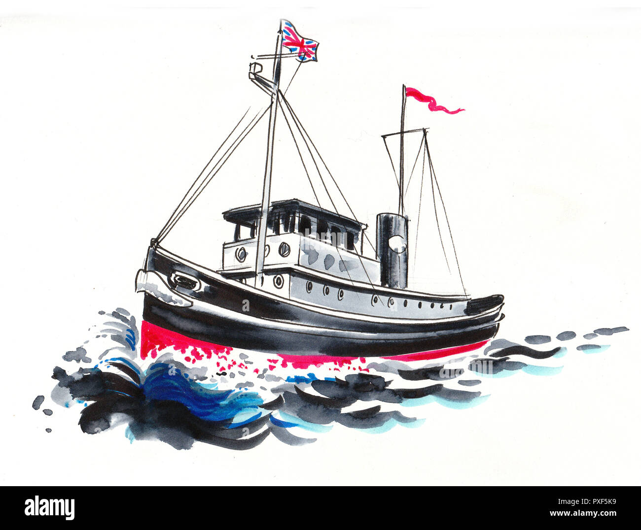 Tug Boat Cut Out Stock Images Pictures Alamy Tugboat Wiring Diagram In The Sea Ink And Watercolor Drawing Image
