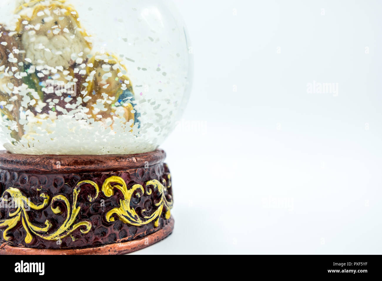 Christian nativity scene inside glass sphere with fake snow ...
