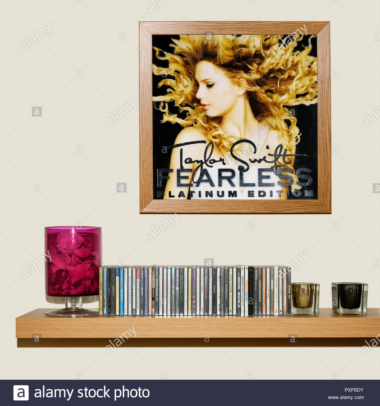 CD Collection and framed Taylor Swift, 2008 2nd album Fearless, England - Stock Image
