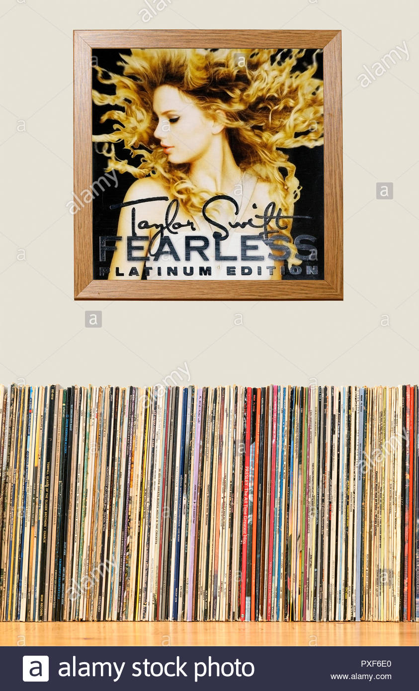 LP Collection and framed Taylor Swift, 2008 2nd album Fearless, England - Stock Image