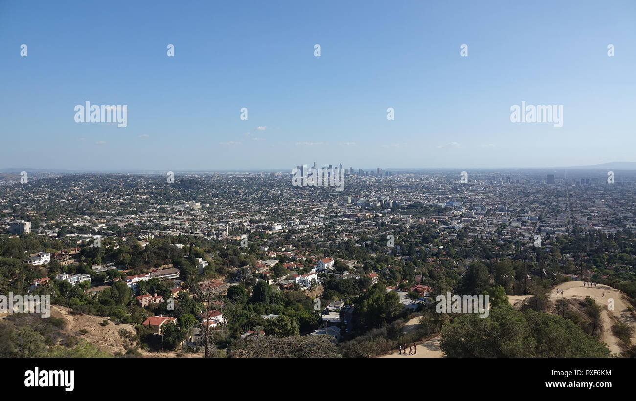 View of downtown LA from Griffith Park - Stock Image