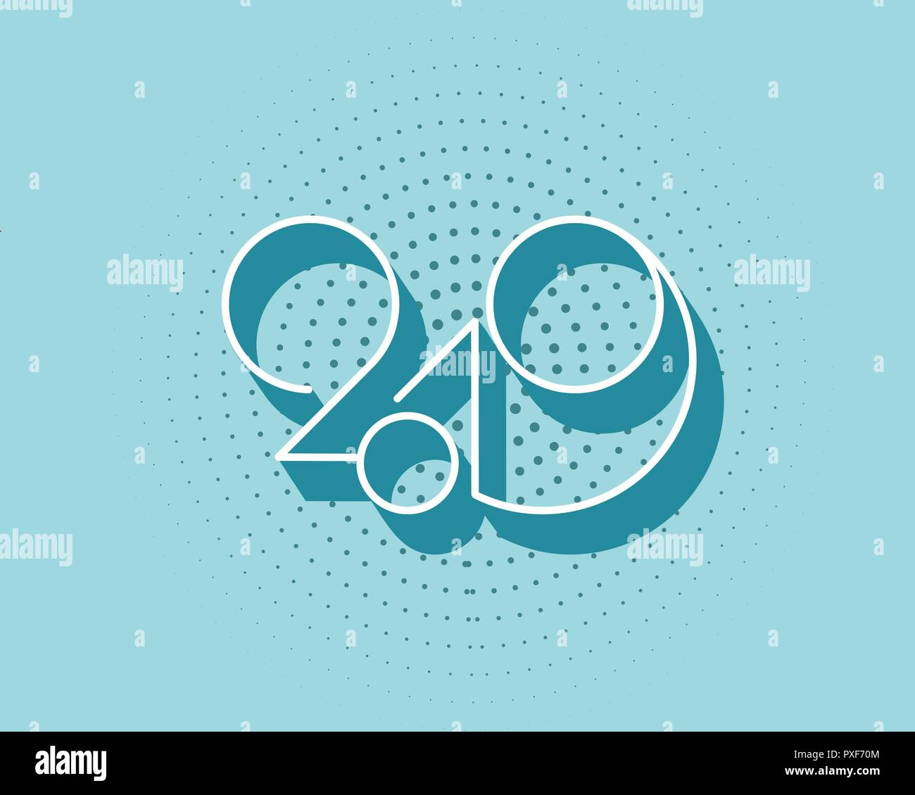 2019 logo new year vector on white background lettering for prints web greeting card and posters