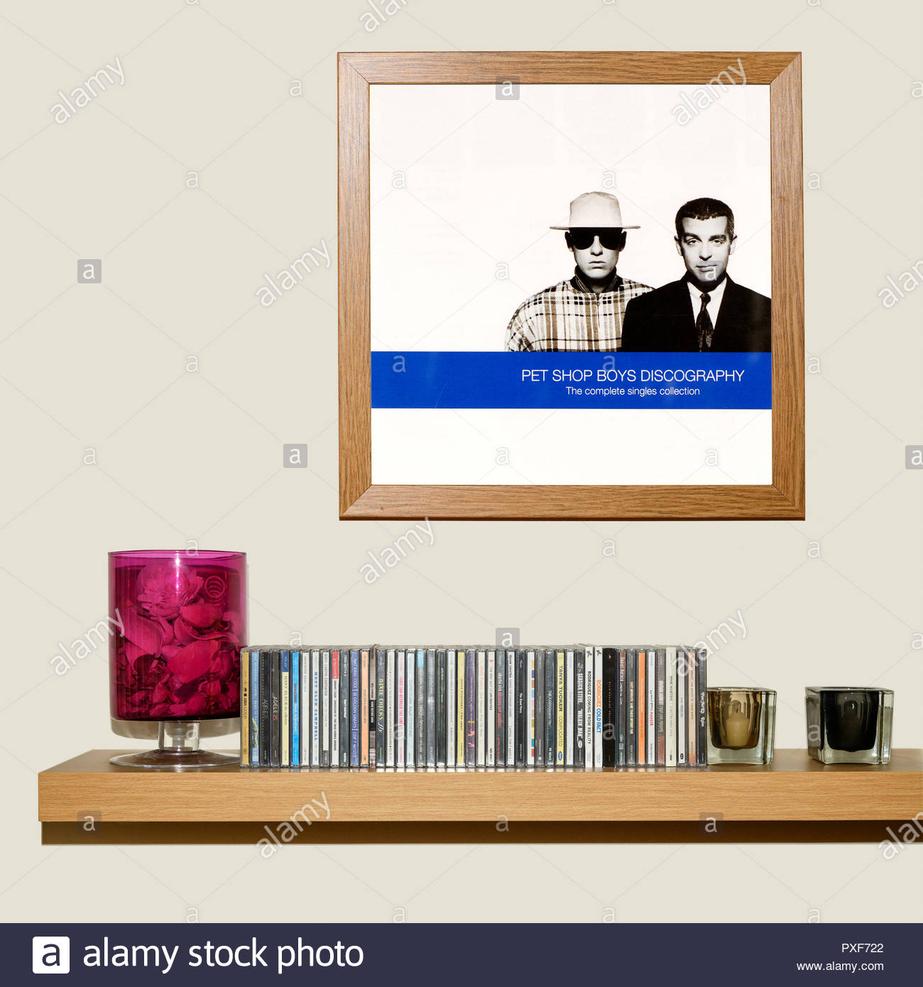 CD Collection and framed Pet Shop Boys 1991 album Discography, England - Stock Image