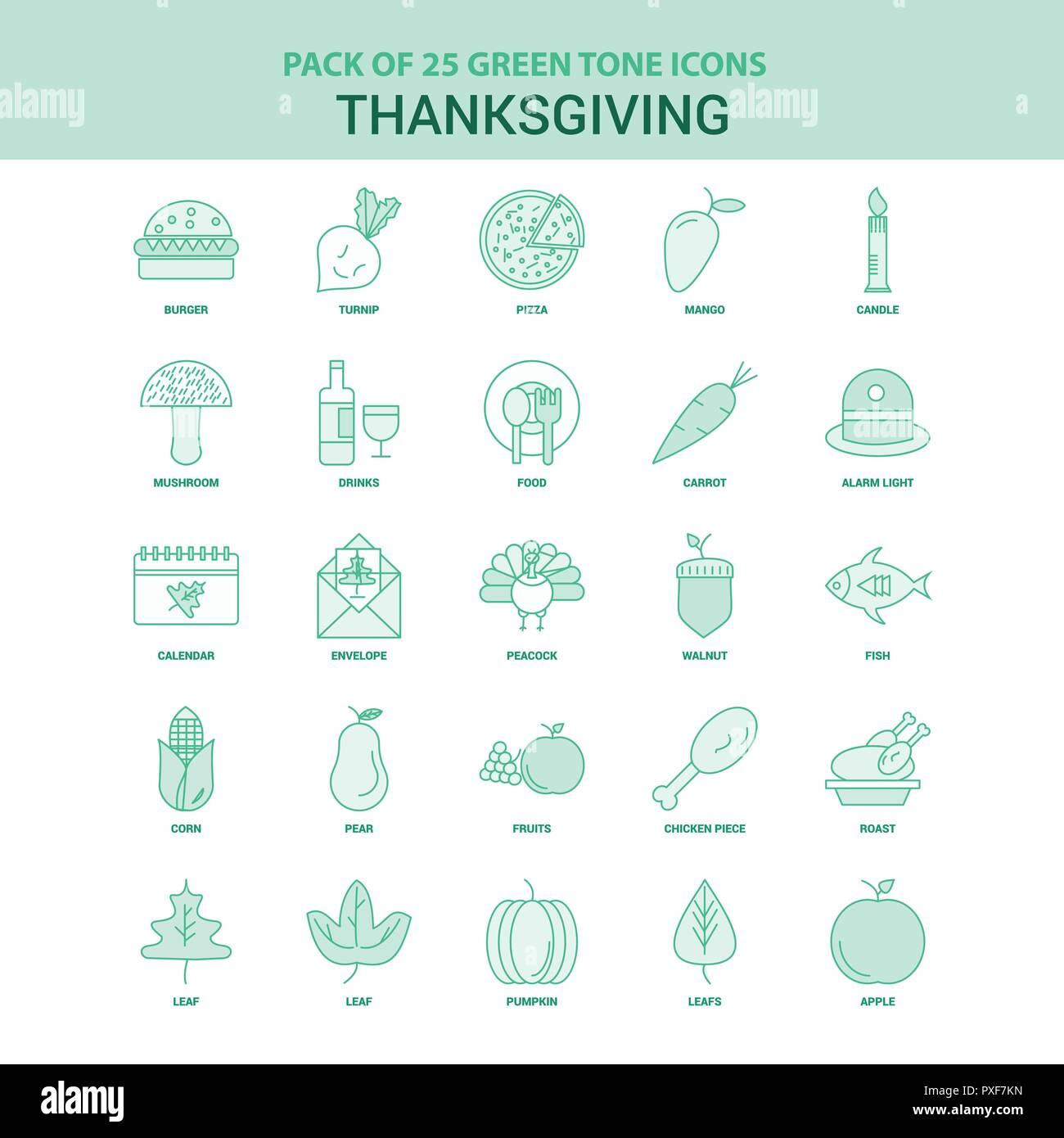 25 Green Thanksgiving  Icon set Stock Vector