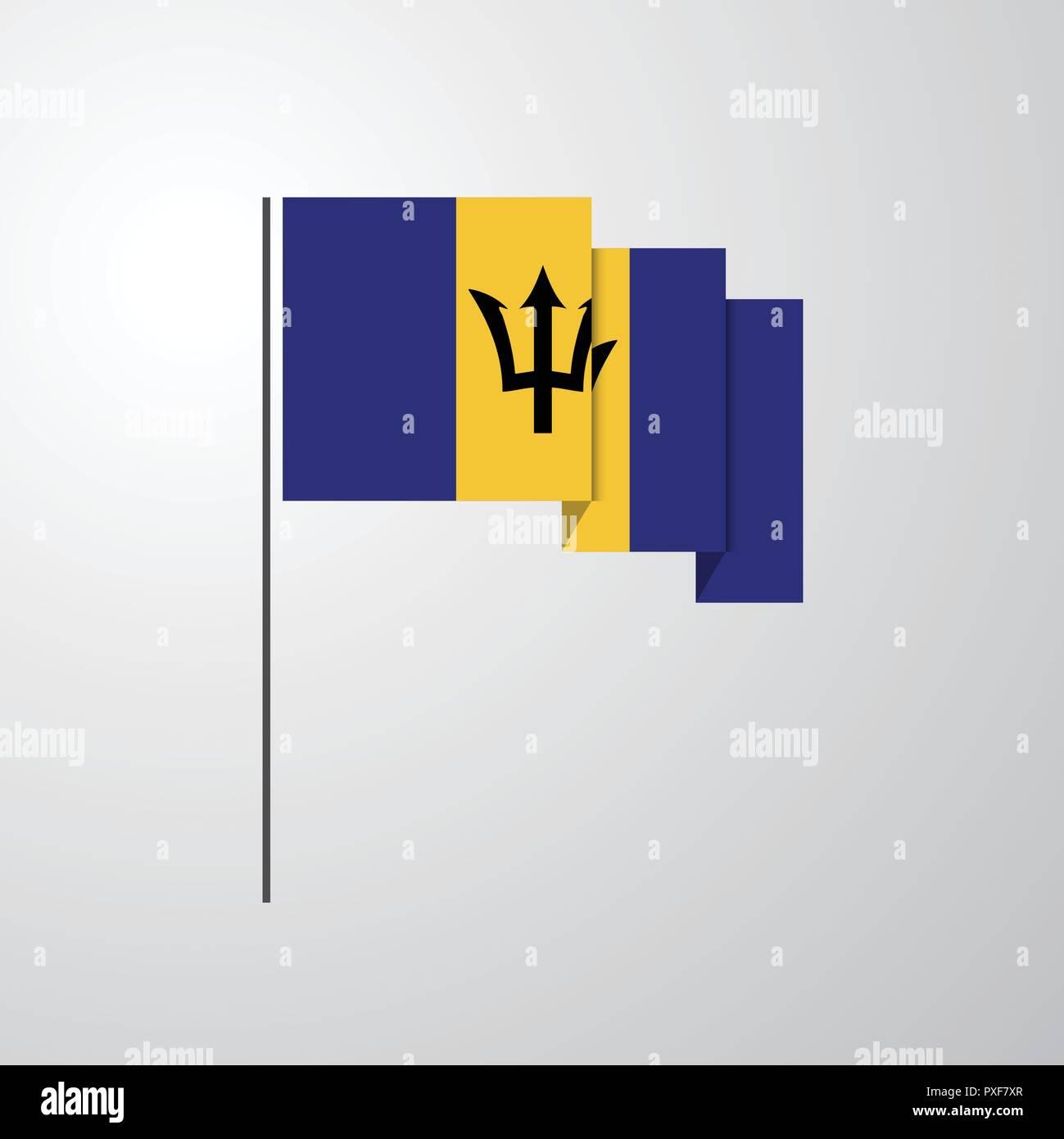 Barbados waving Flag creative background - Stock Vector
