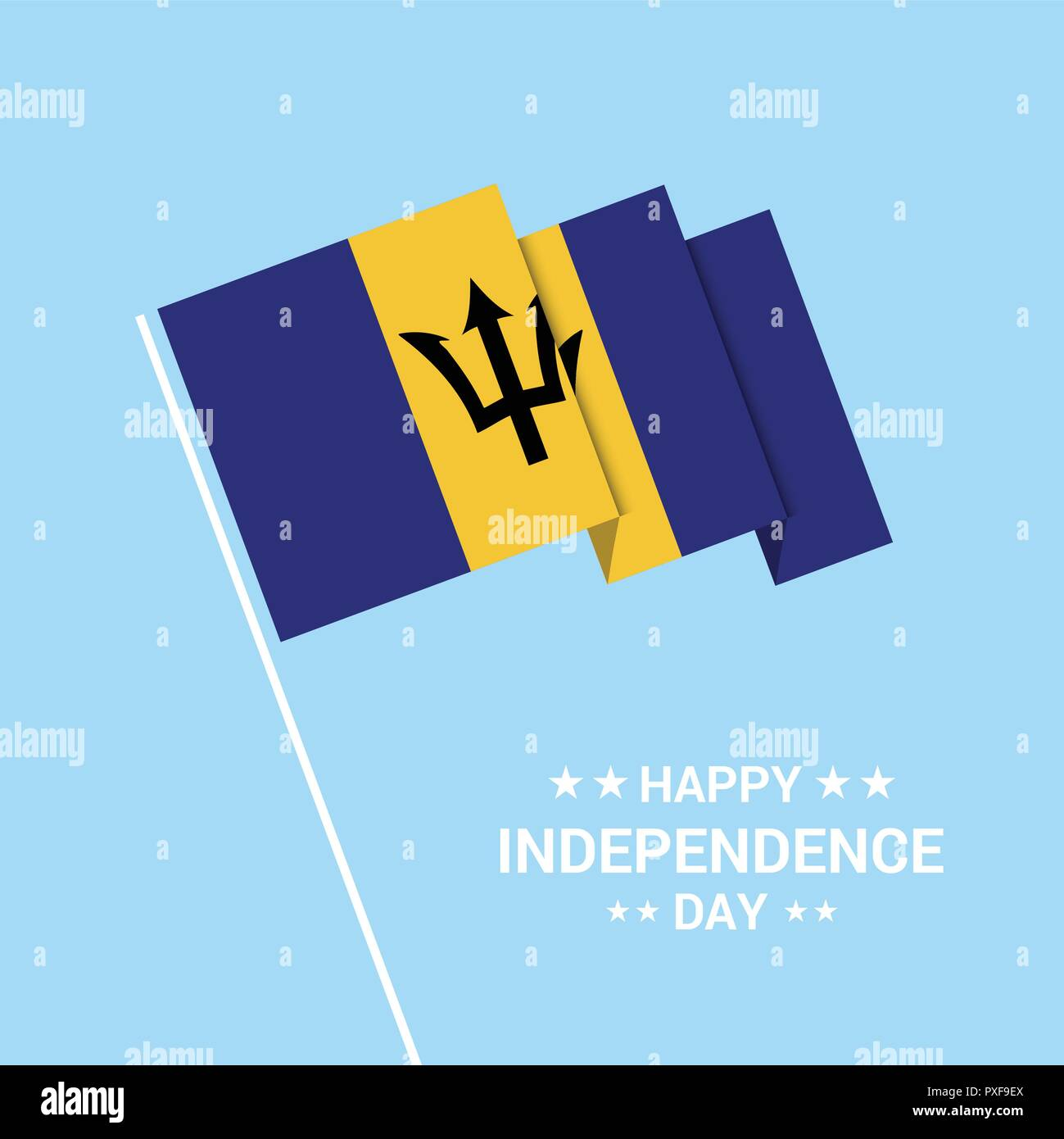 Barbados Independence day typographic design with flag vector - Stock Vector