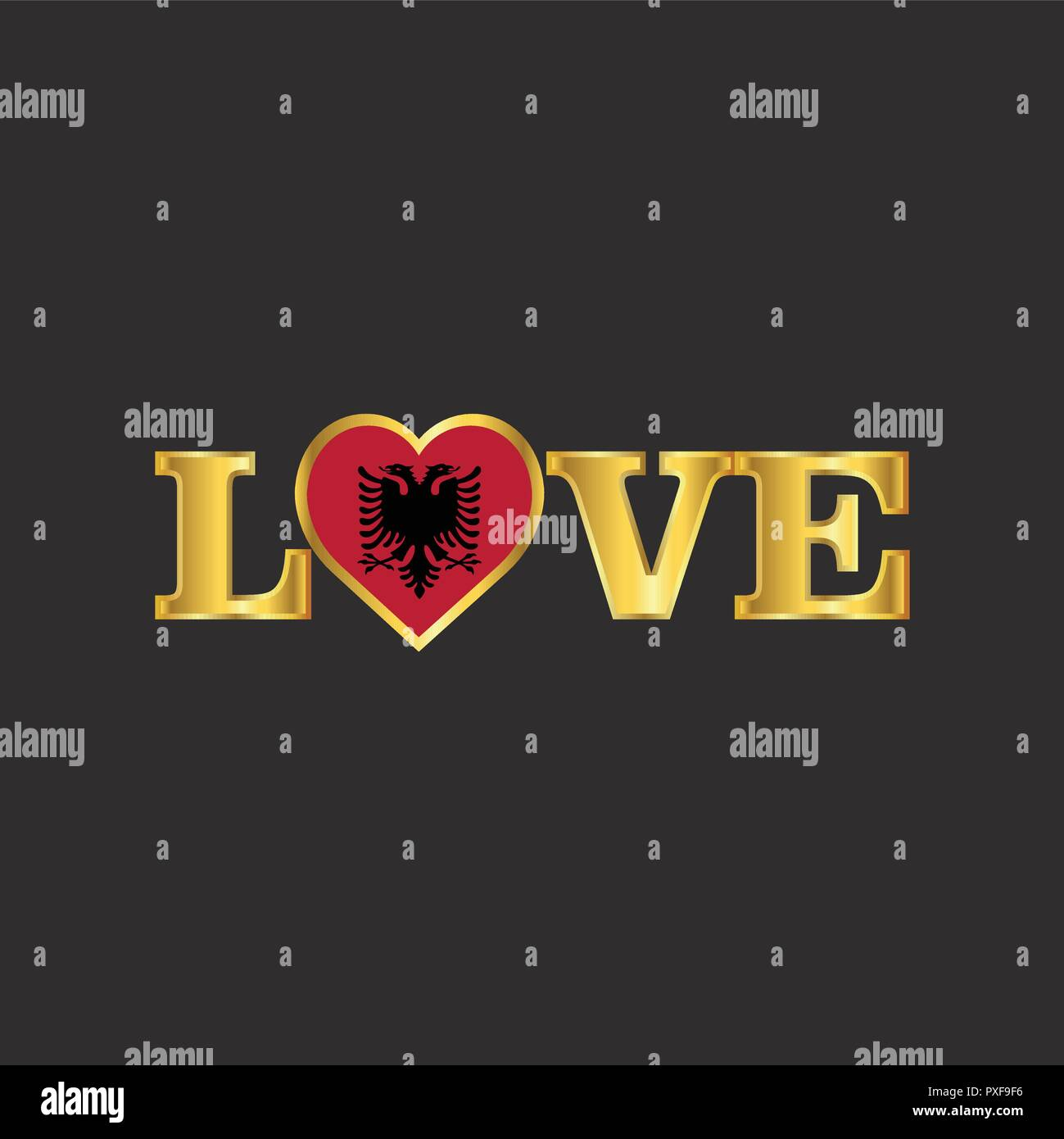 Golden Love typography Albania flag design vector - Stock Vector