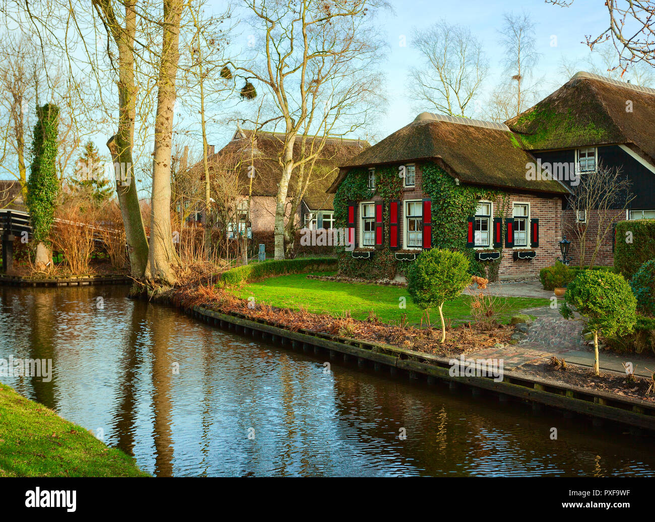 Canal In Giethoorn At Sunny Winter Morning Netherlands Giethoorn