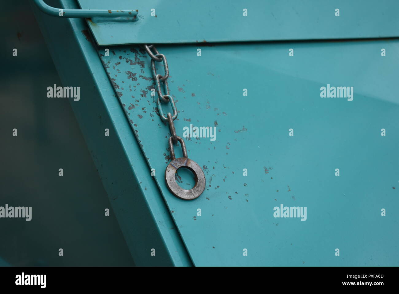 lost in time, iron and steel on blue and grey - Stock Image