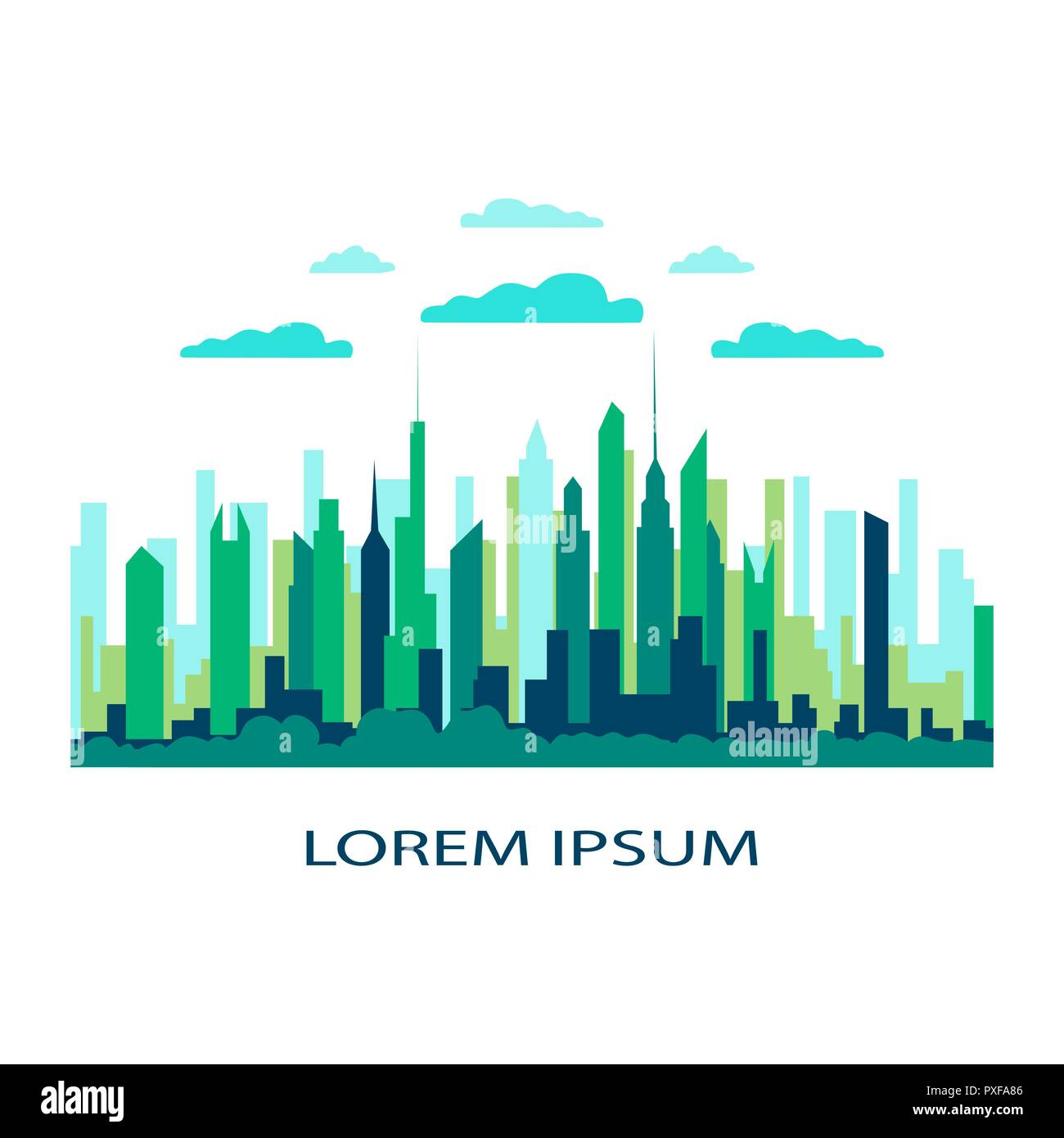 City landscape flat. Design urban illustration vector in simple minimal geometric  style with buildings, lake flowers and trees abstract background fo - Stock Image