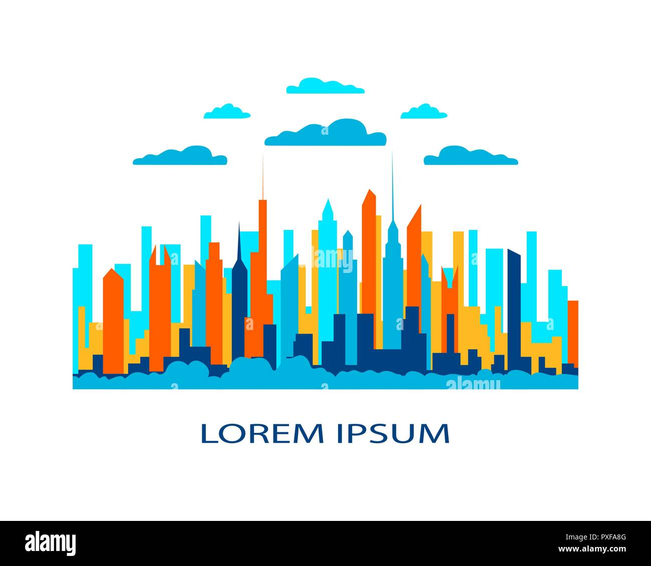 City landscape flat. Design urban illustration vector in simple minimal geometric  style with buildings, lake flowers and trees abstract background fo - Stock Vector