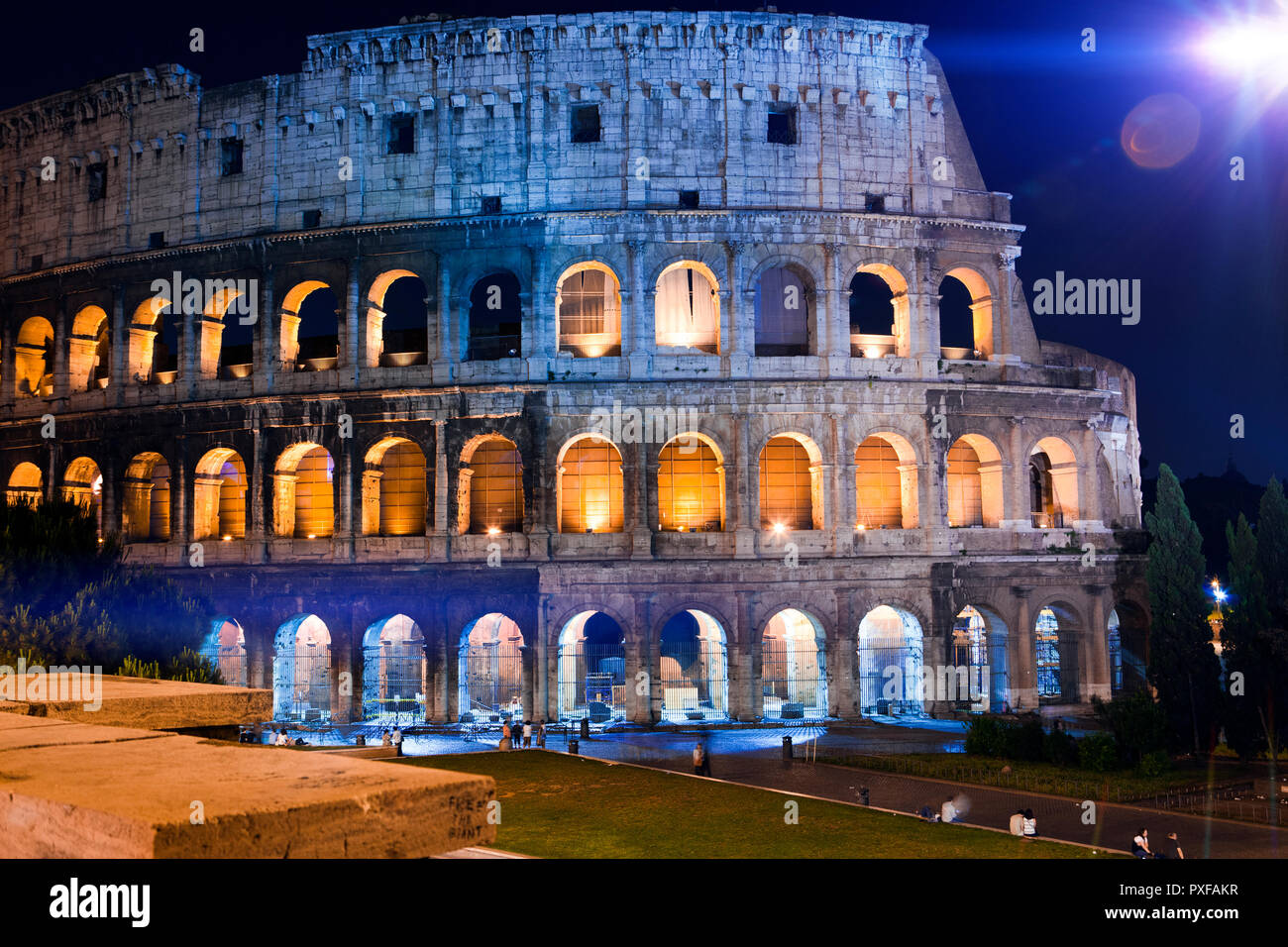 Italy. Rome. The night Collosseo - Stock Image