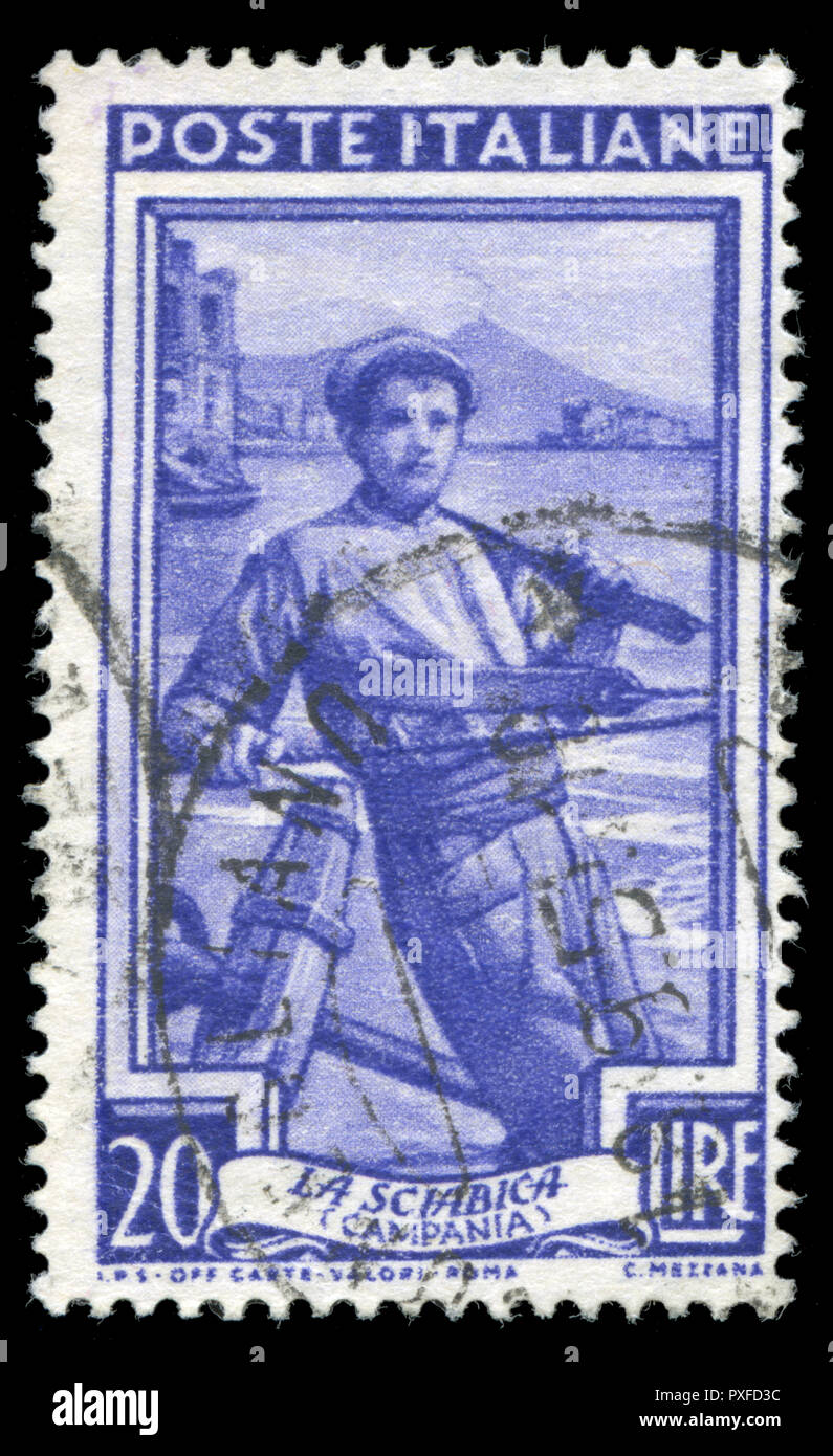 Postmarked stamp from Italy in the Provincial Occupations series issued in 1950 - Stock Image