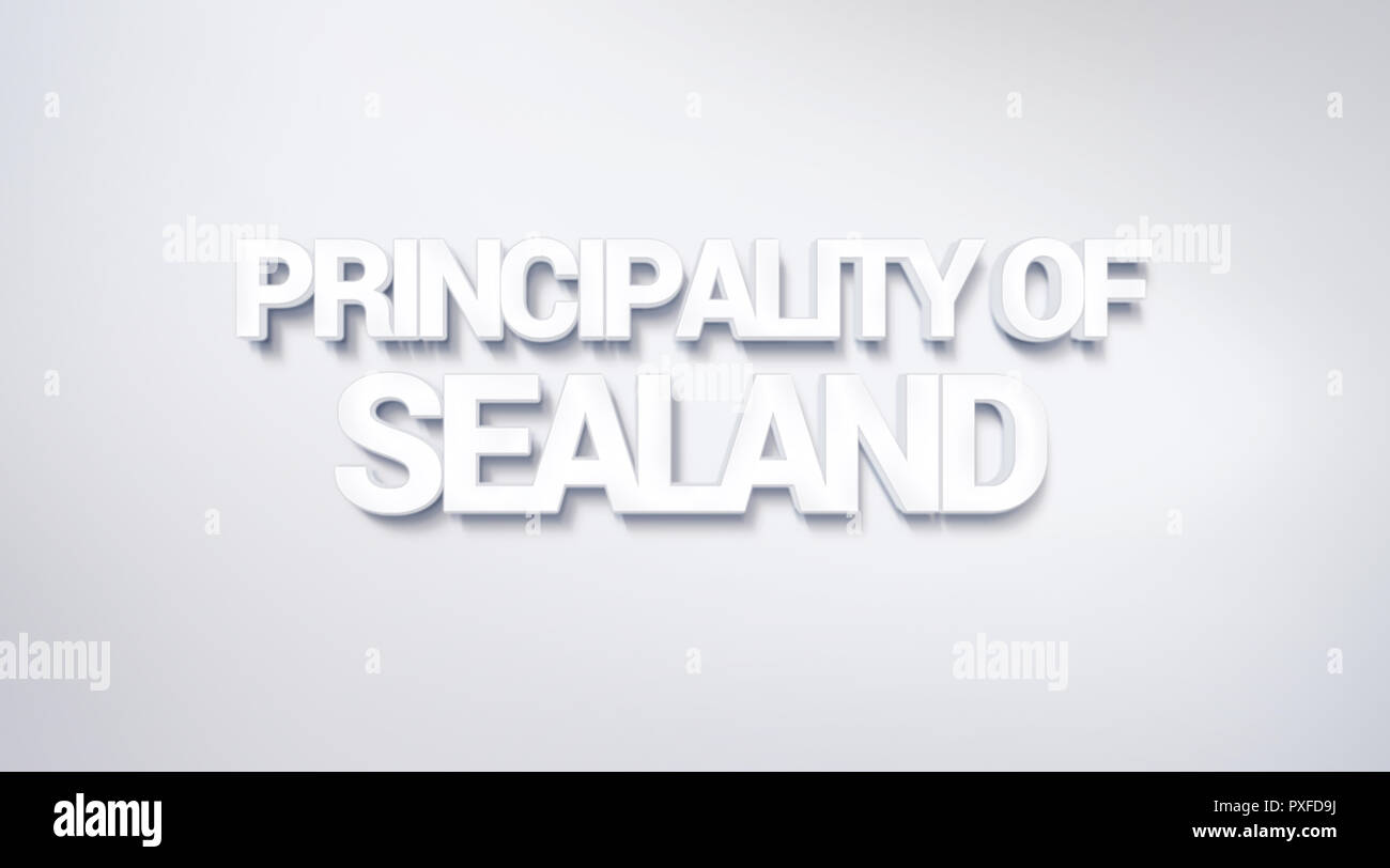 Principality of Sealand, text design. calligraphy. Typography poster. Usable as Wallpaper background - Stock Image