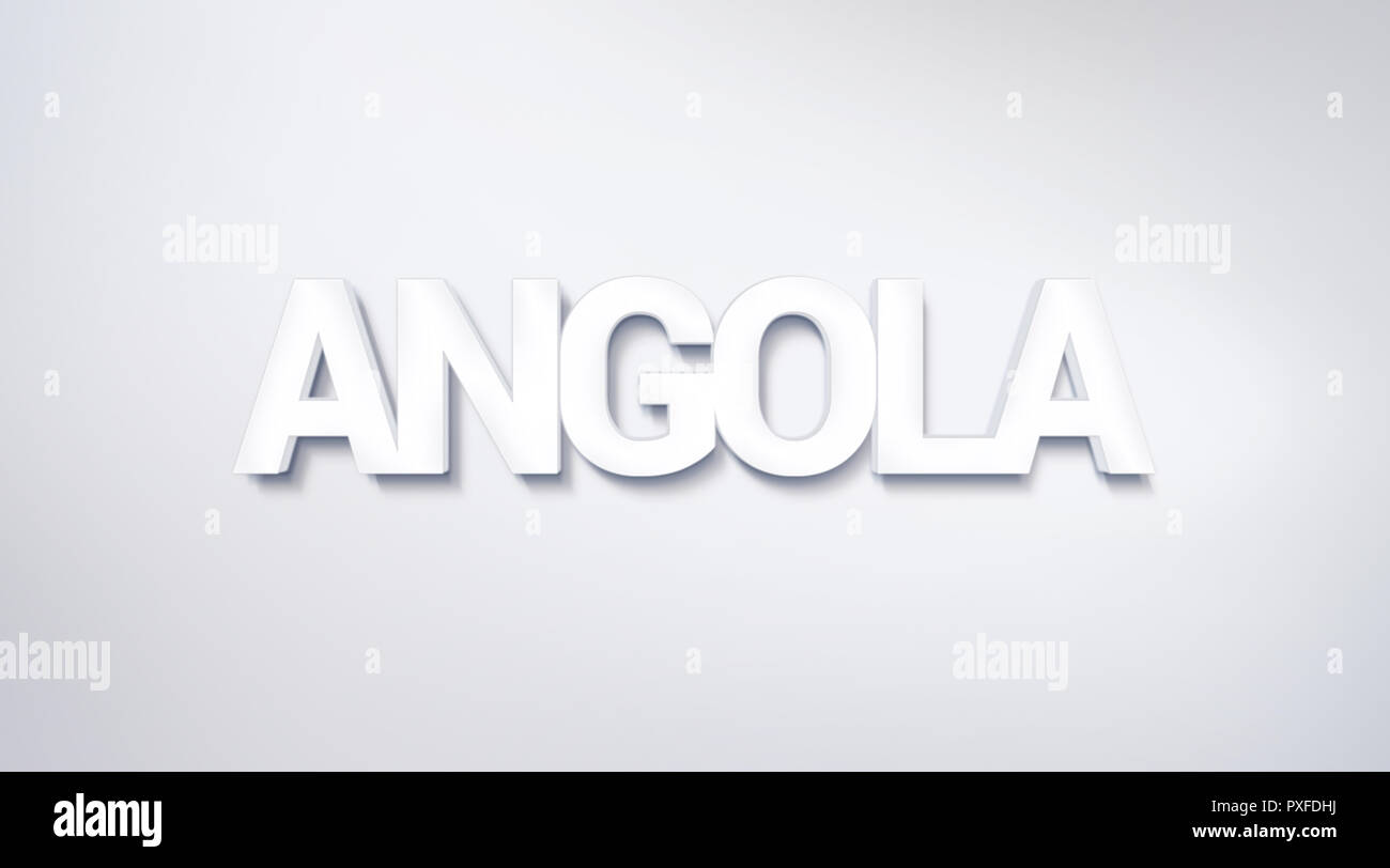 Angola, text design. calligraphy. Typography poster. Usable as Wallpaper background - Stock Image