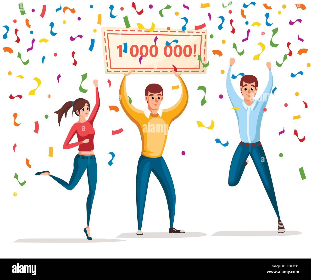 Lottery winner. Women and man stand with winner banner, 1000000. Happy people. Win million. Cartoon character design. Flat vector illustration isolate - Stock Image