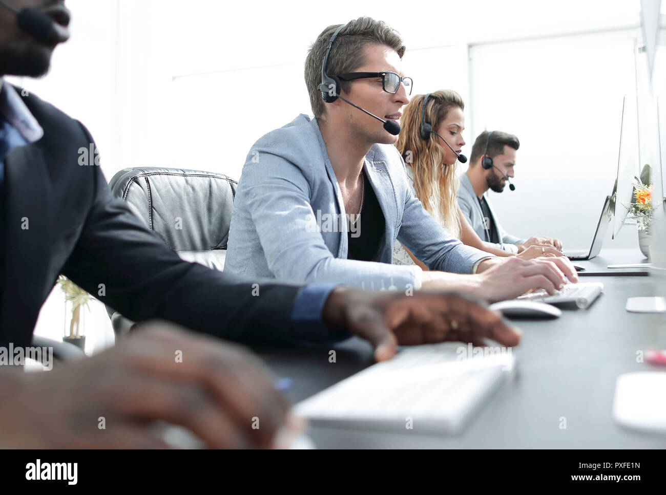 call center staff work in a modern office Stock Photo