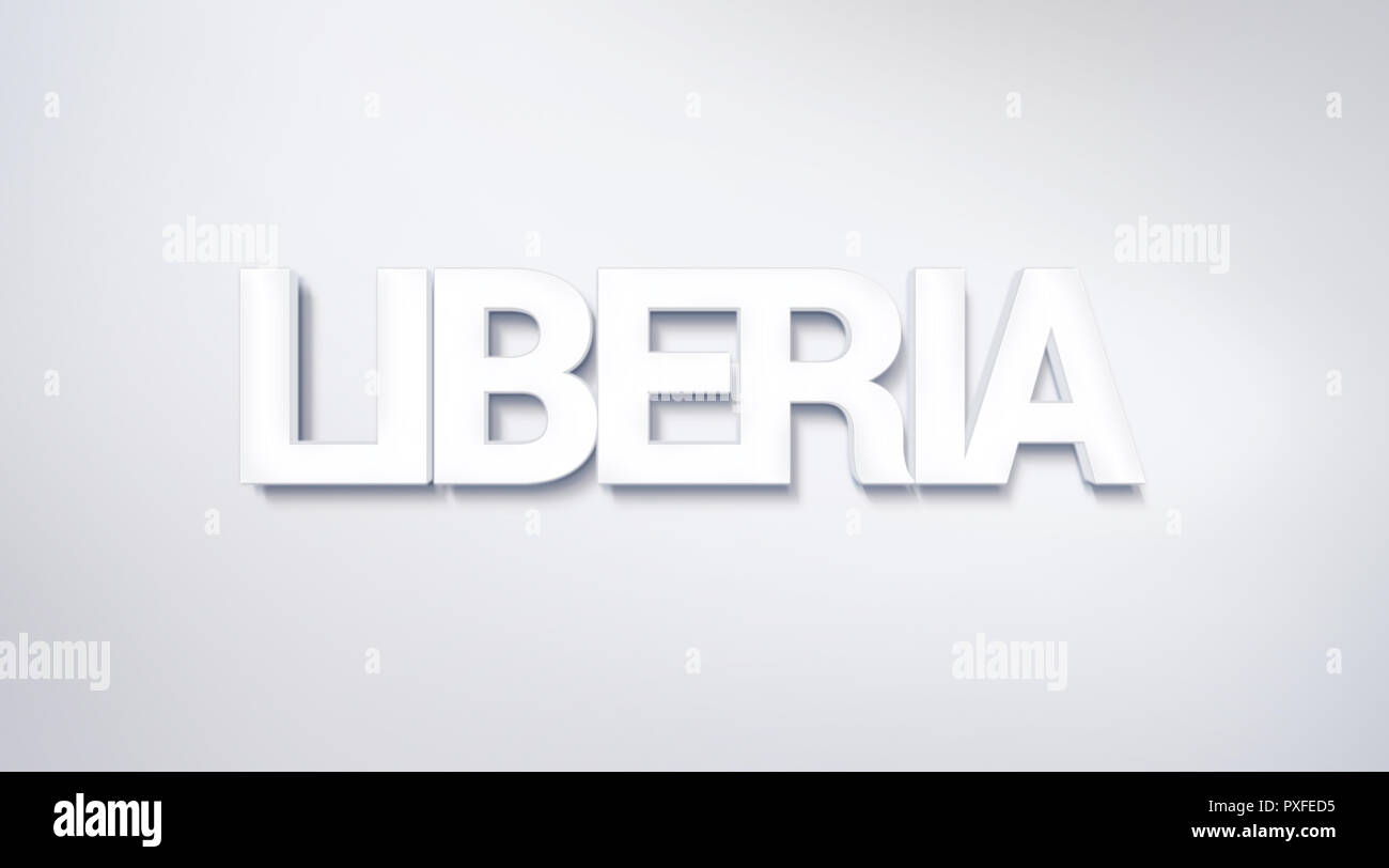 Liberia, text design. calligraphy. Typography poster. Usable as Wallpaper background - Stock Image