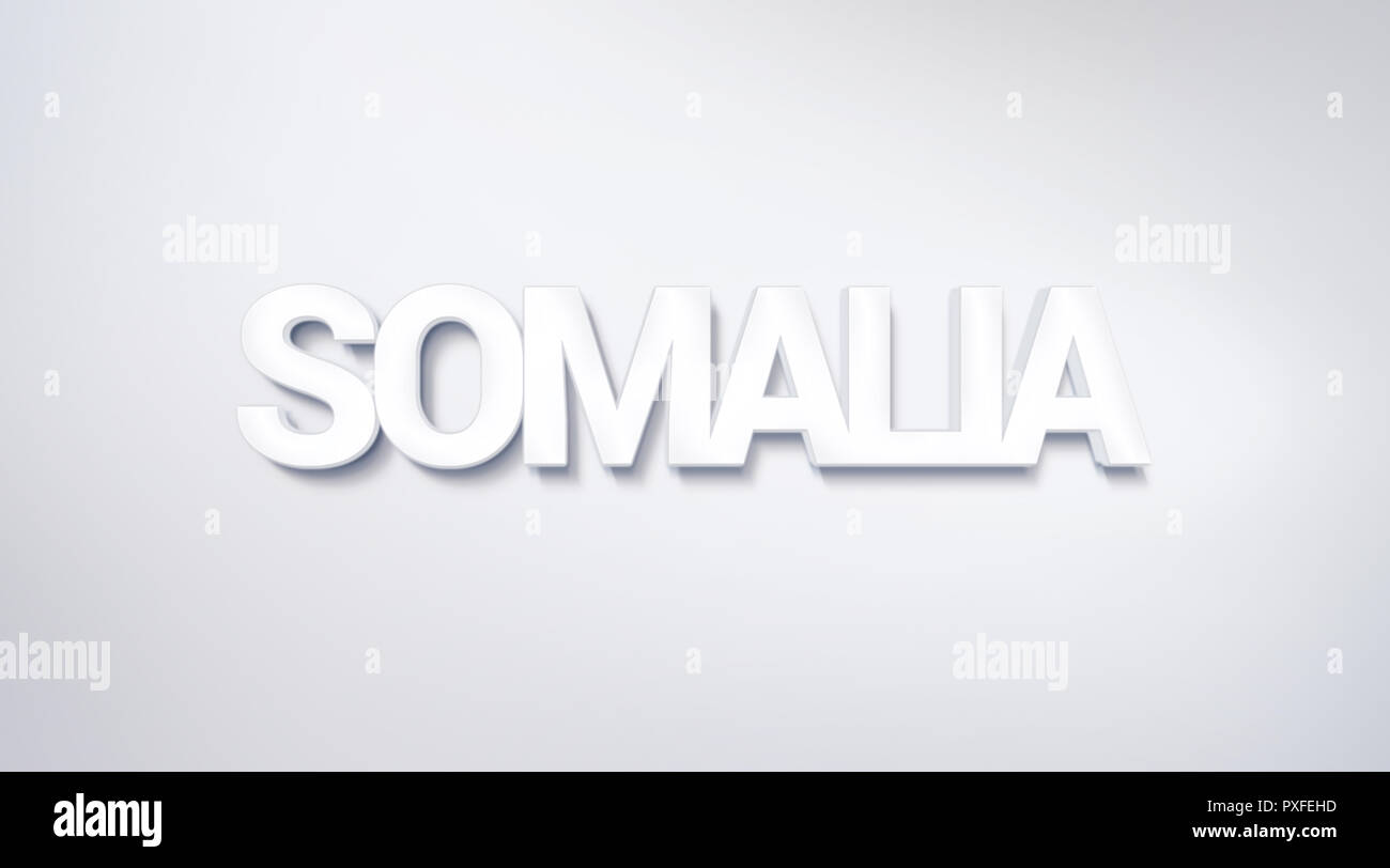 Somalia, text design. calligraphy. Typography poster. Usable as Wallpaper background - Stock Image