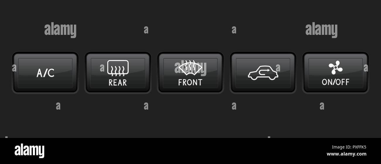 Car dashboard black buttons - Stock Vector