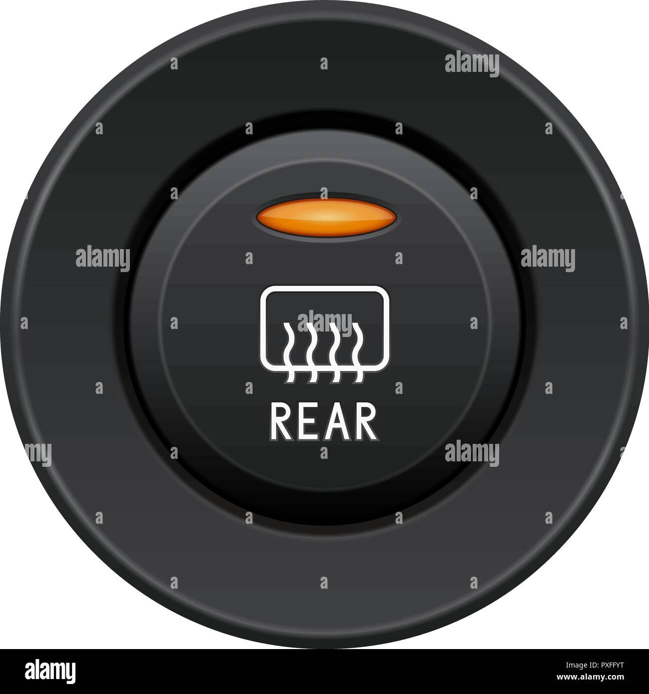 Rear glass heating button. Car dashboard black element - Stock Vector