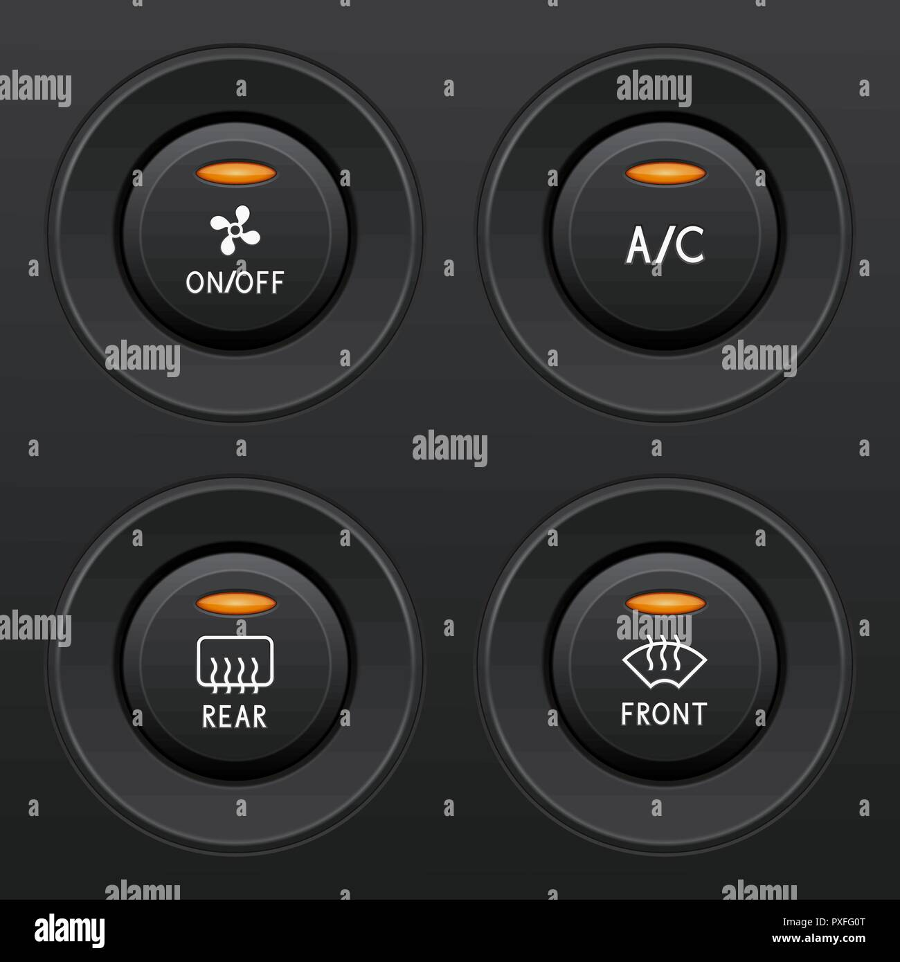 Air conditioner buttons set. Car dashboard black elements - Stock Vector