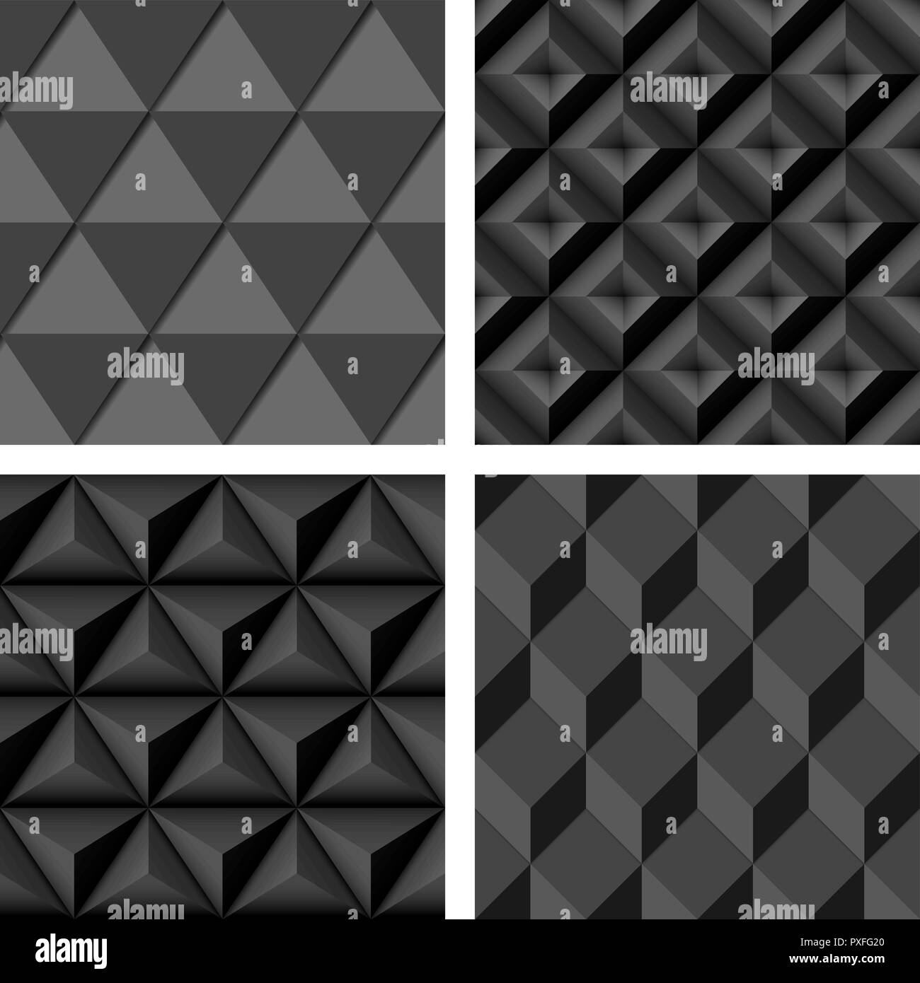 Gray geometric seamless background. Compilation set - Stock Image