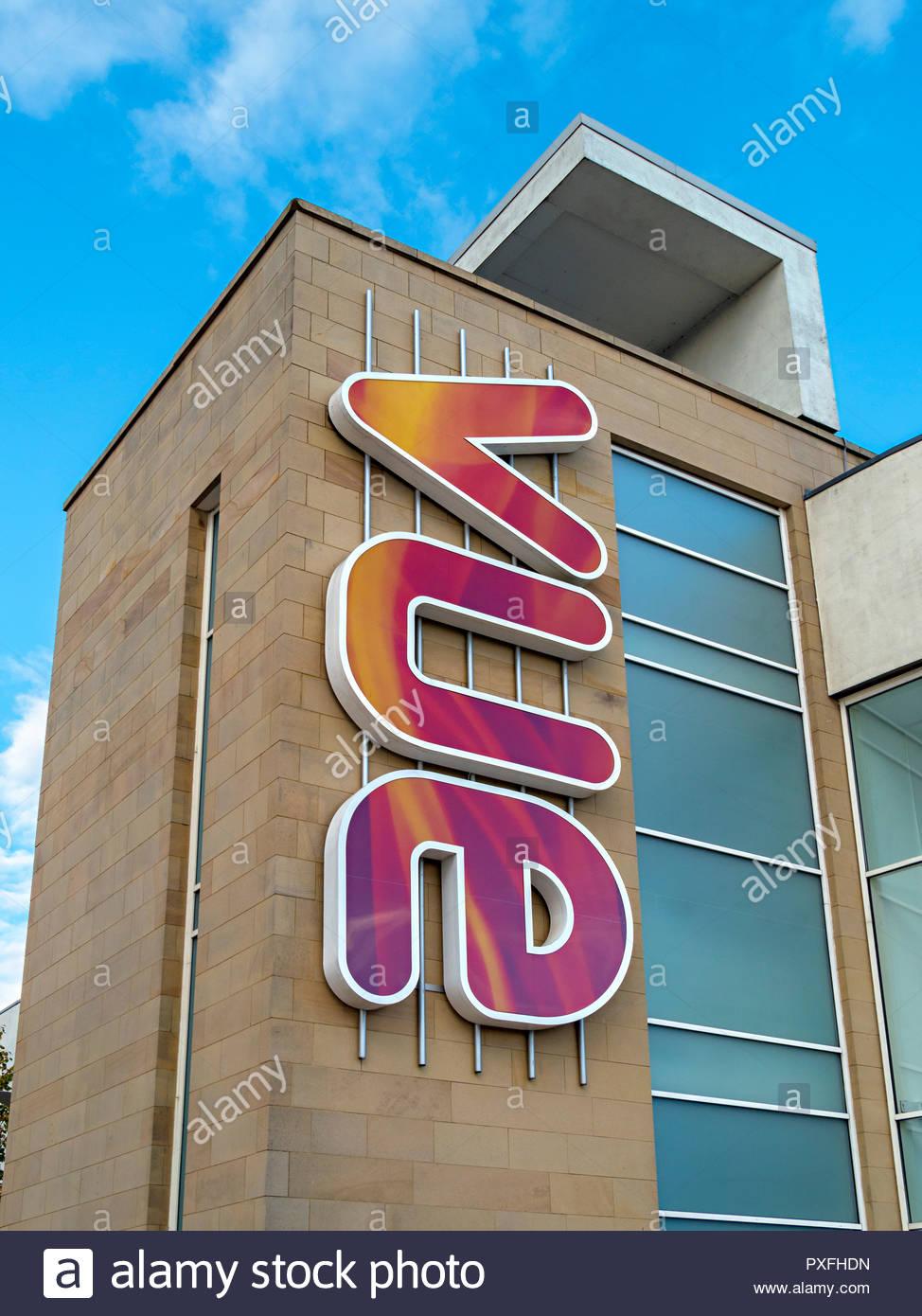 Exterior of modern Vue multiplex cinema showing colourful Vue logo, Forthside, Stirling, Scotland, UK - Stock Image