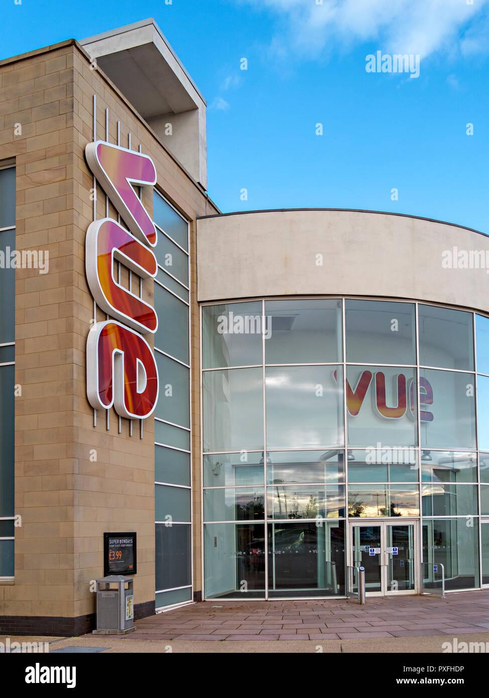 Exterior of modern Vue multiplex cinema showing colourful Vue logo and entrance lobby, Forthside, Stirling, Scotland, UK - Stock Image