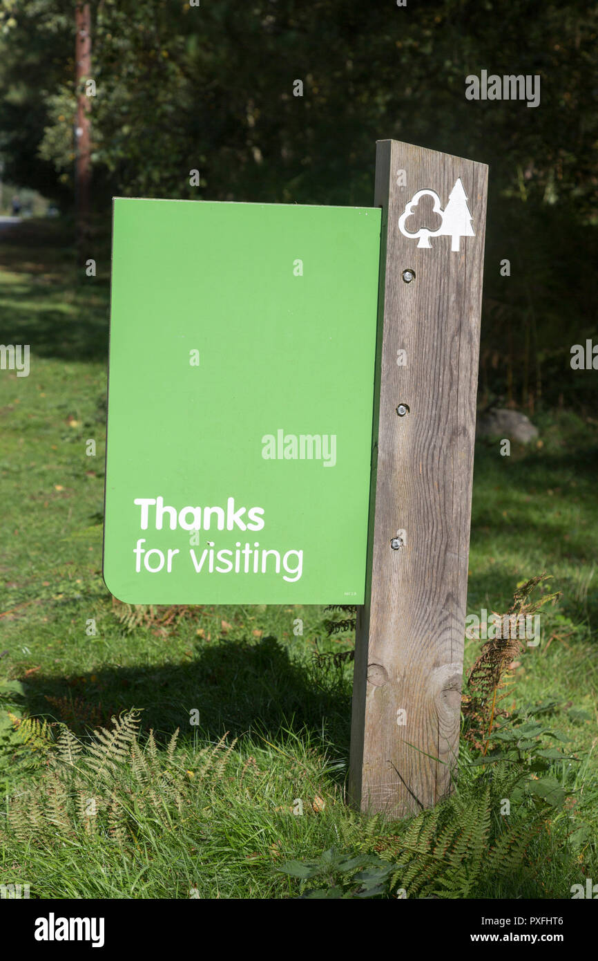 Thanks for visiting sign leaving forestry plantation, Rendlesham Forest, Suffolk, England, UK - Stock Image