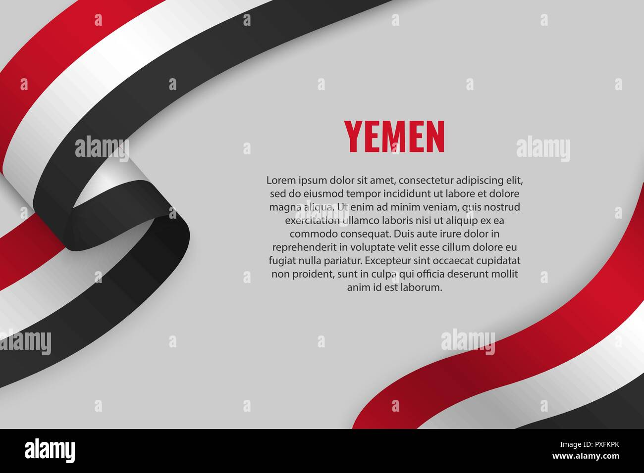 Waving ribbon or banner with flag of Yemen. Template for poster design - Stock Vector