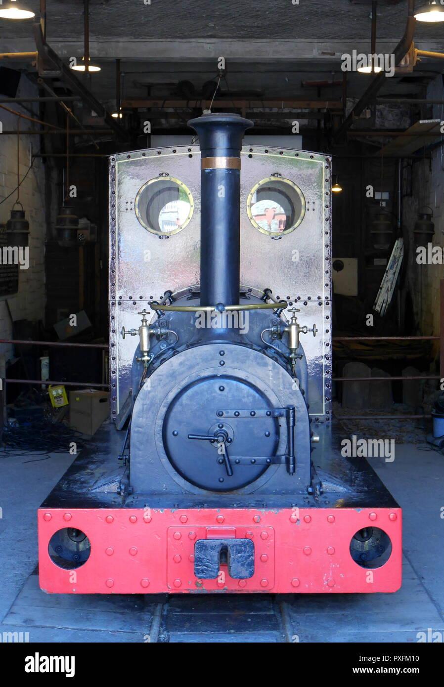 Narrow gauge locomotive, Una, at the National Slate Museum, Llanberis, Snowdonia, Gwynedd, North Wales, United Kingdom - Stock Image