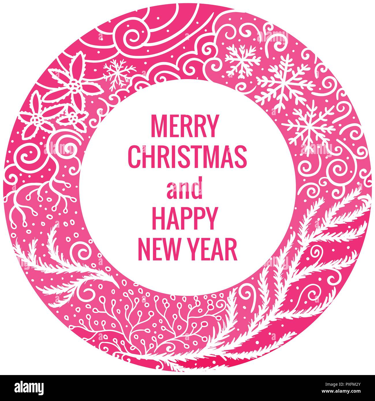 card merry christmas and happy new year round frame hand drawn pink color ornaments vector illustration isolated on white background